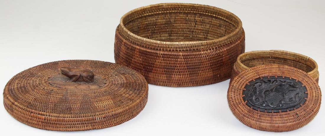 20th c African oval baskets w/ wood carving - 2