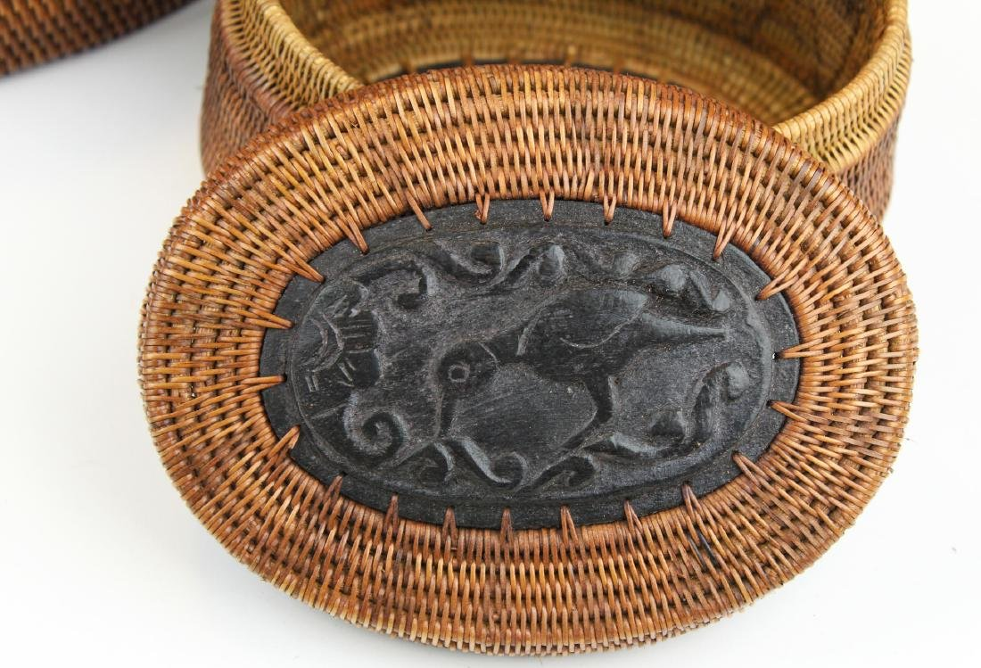 20th c African oval baskets w/ wood carving - 3