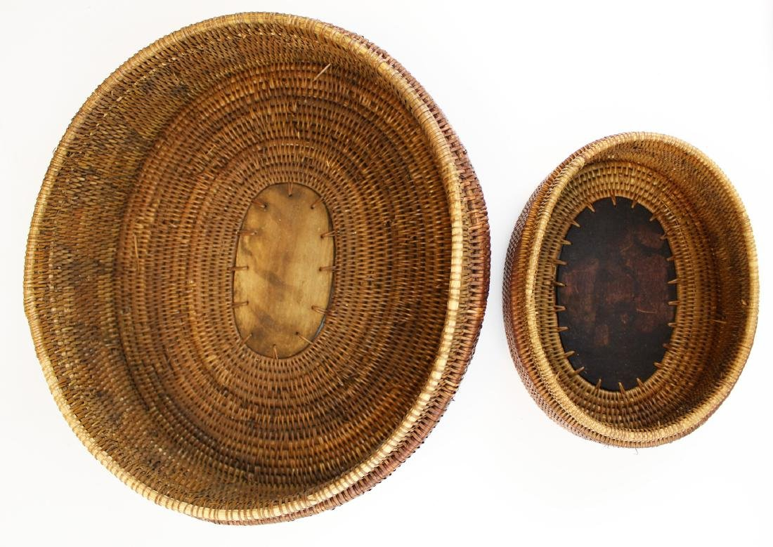 20th c African oval baskets w/ wood carving - 5