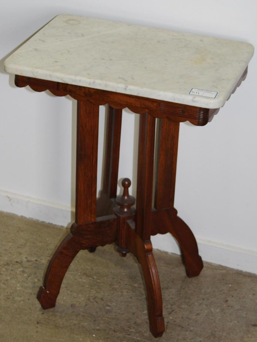 Victorian Eastlake style marble top table