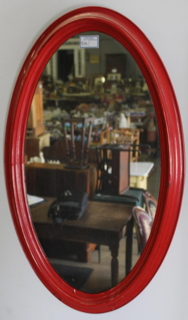 Victorian oval overmantel mirror in red paint
