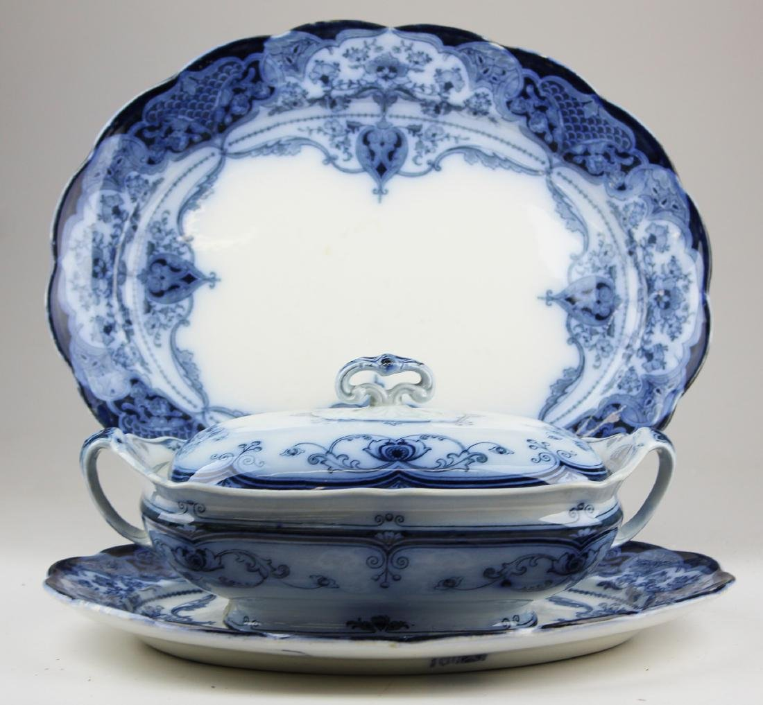 English late flow blue platters and covered dish