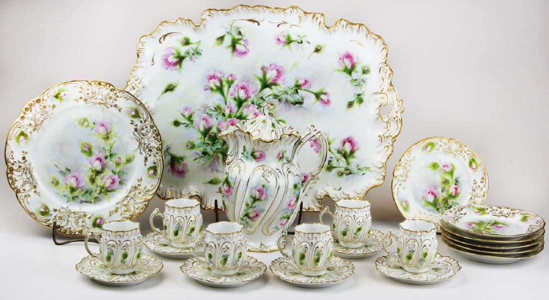 Limoges chocolate set and matching cake set