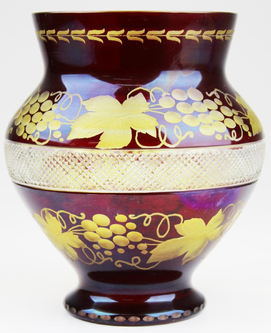 Bohemian glass Ruby cut to clear bouquet vase