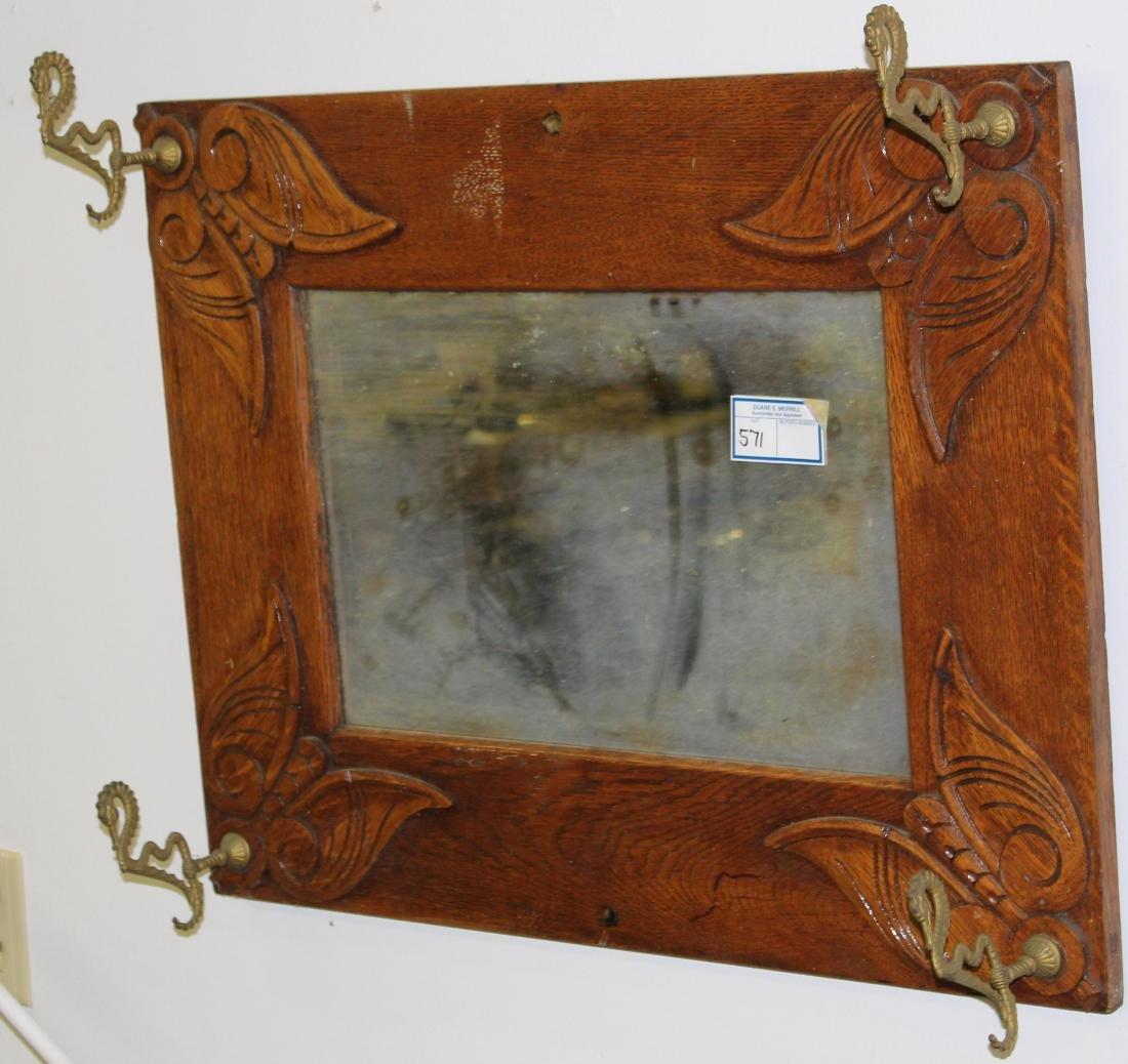 ca 1900 carved oak hall mirror