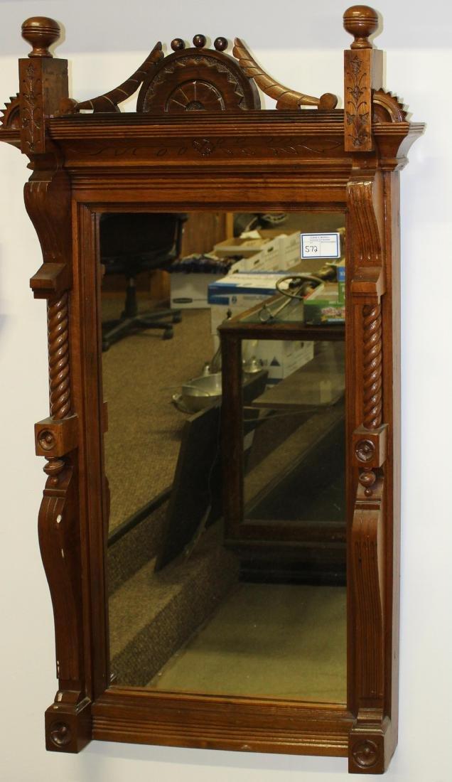 ca 1880 carved black walnut wall mirror