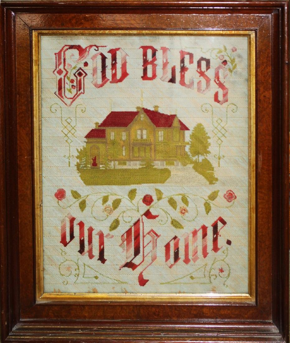 19th c needlework motto God Bless This Home