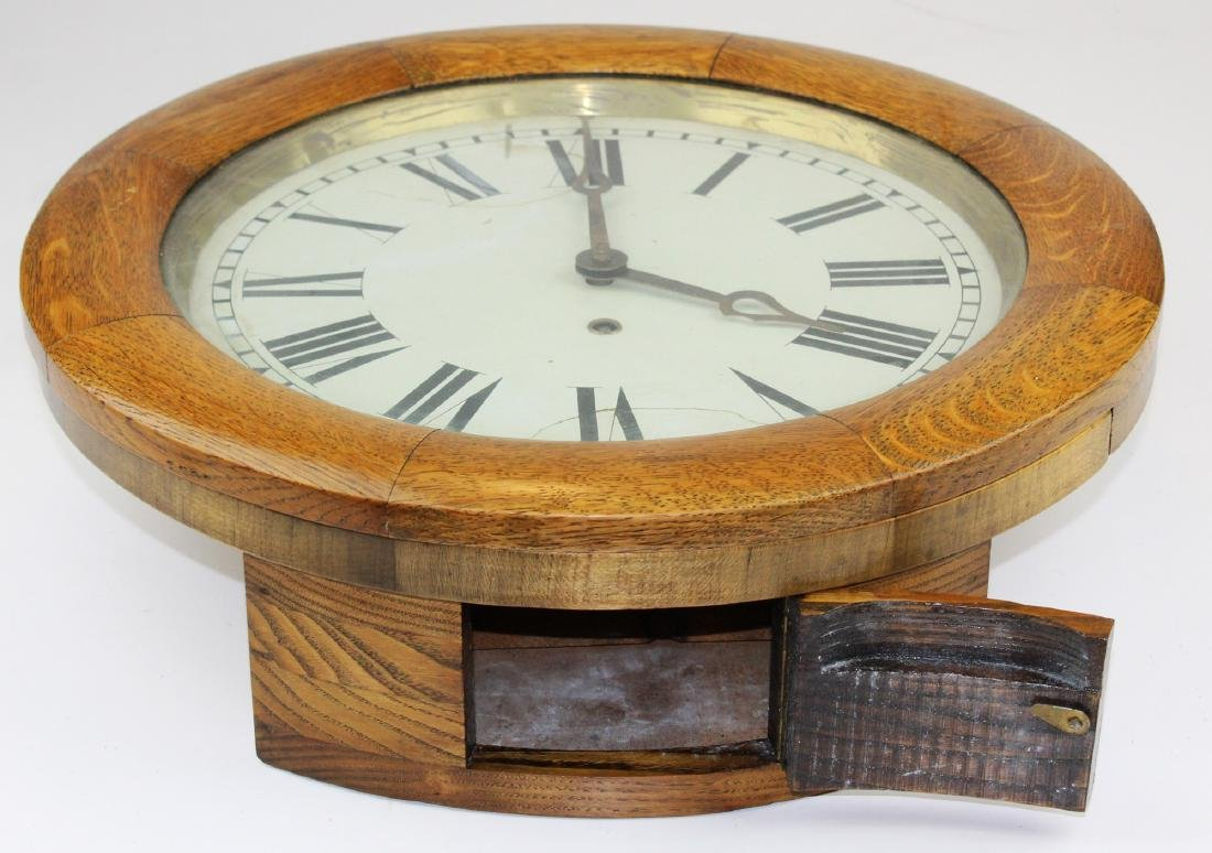 Arthur Pequegnat round oak regulator clock - 2