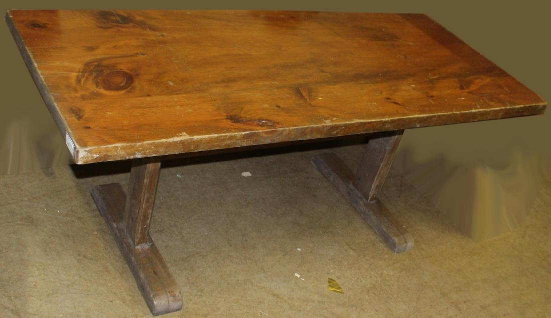 pine trestle table from Stratton Mt base lodge