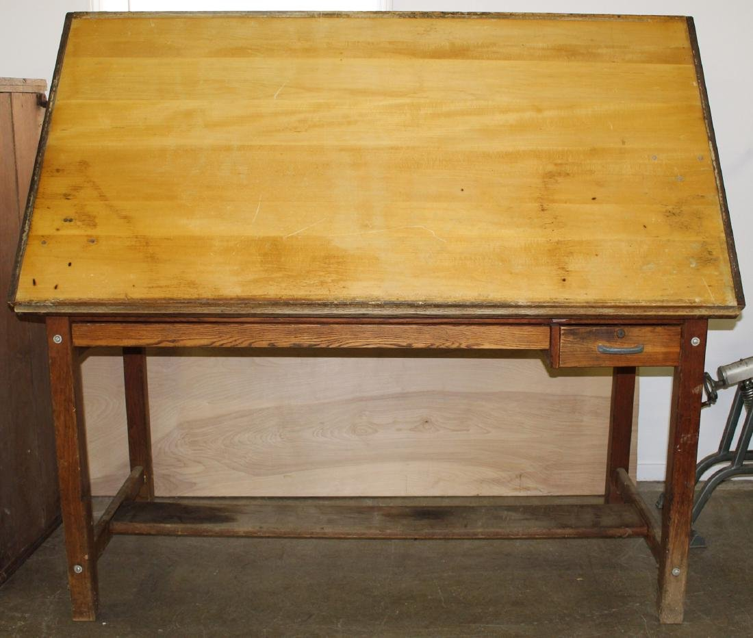 mid 20th c tilt top drafting table - 2