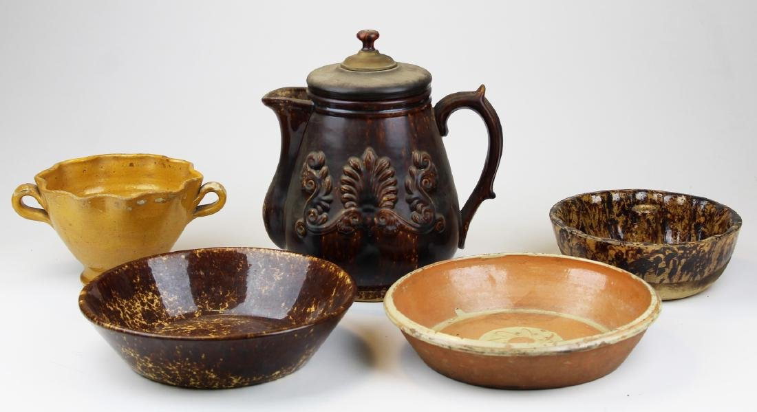 19th c Rockingham, redware pottery pieces