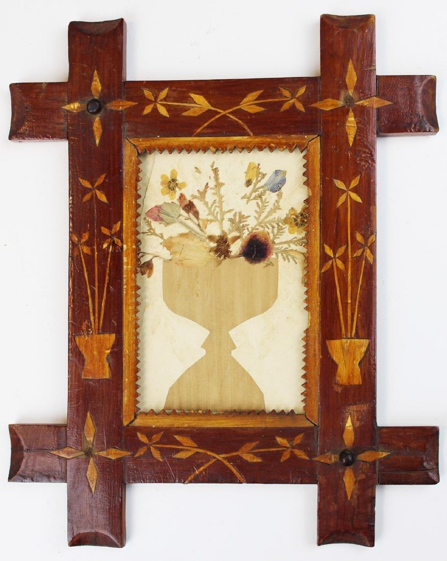 19th c folky frame w/ flowers of Jerusalem