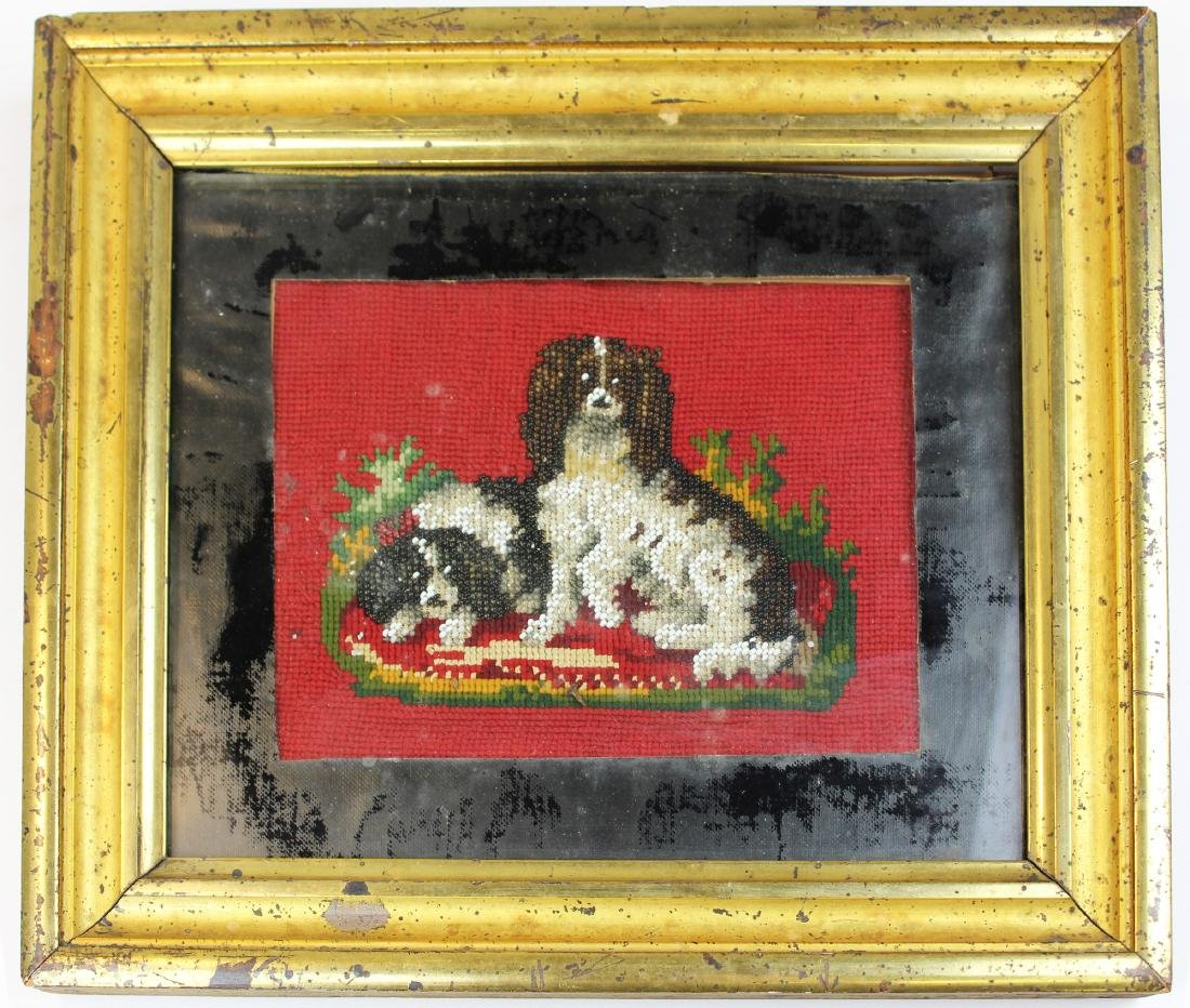 19th c beaded picture in lemon gilt frame