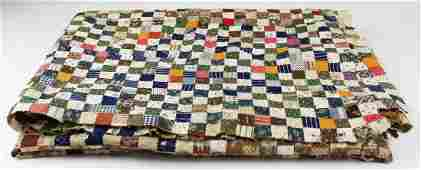 late 19th c postage stamp quilt top