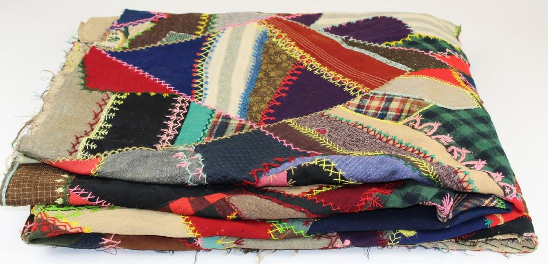 late 19th c crazy quilt top