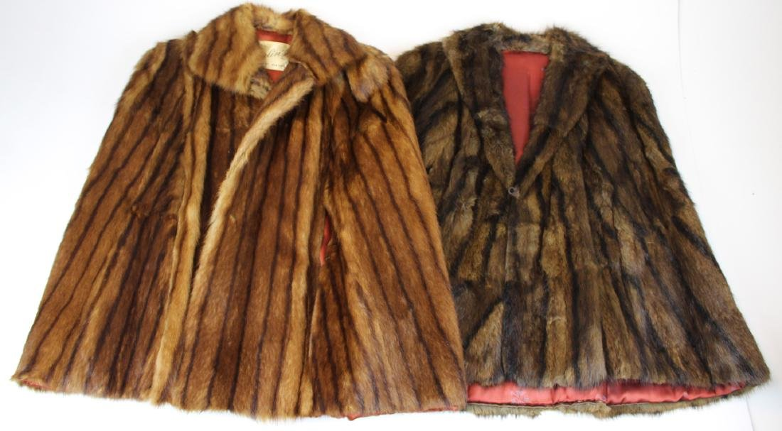 two mid 20th c mink fur capes
