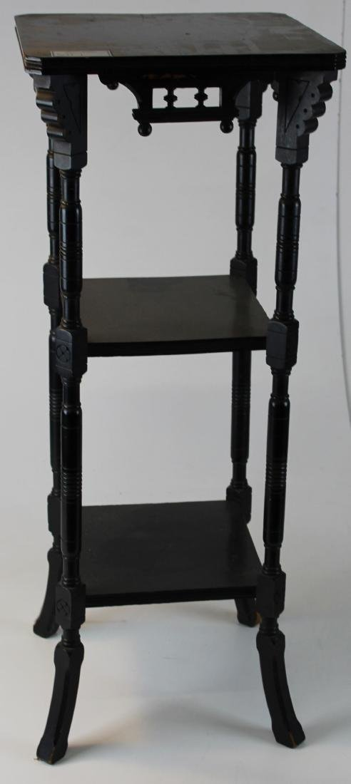 Victorian Eastlake ebonized 3 tier lamp stand