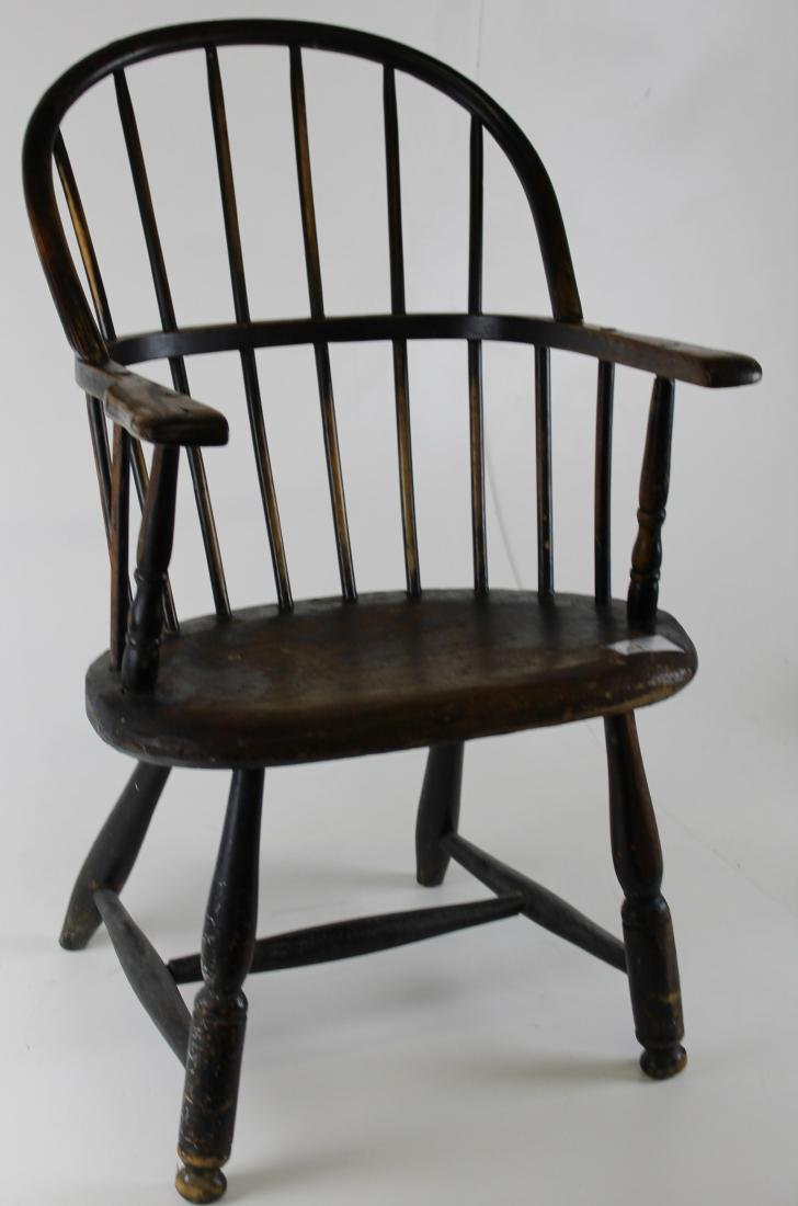 19th c. sack back windsor armchair in old finish