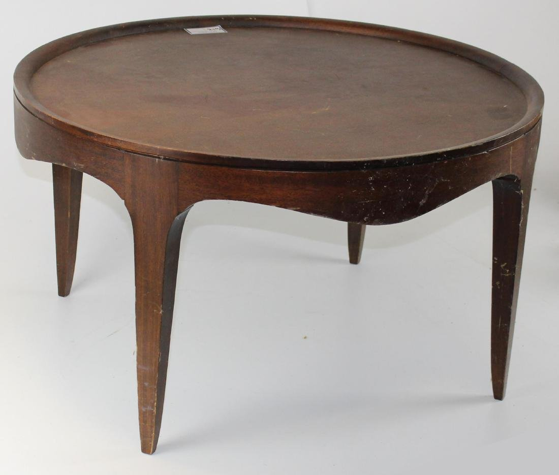 mid-century modern mahogany round coffee table