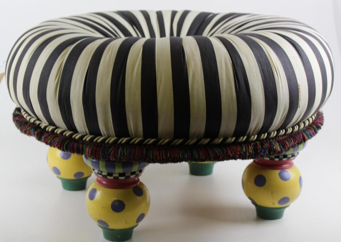Makenzie Childs style tufted footstool