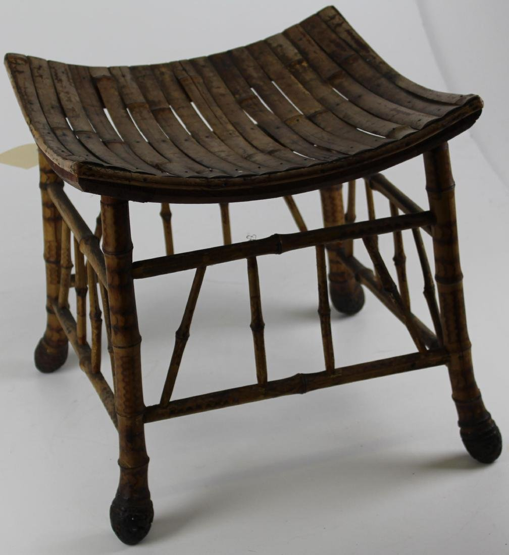 20th c bamboo footstool as found