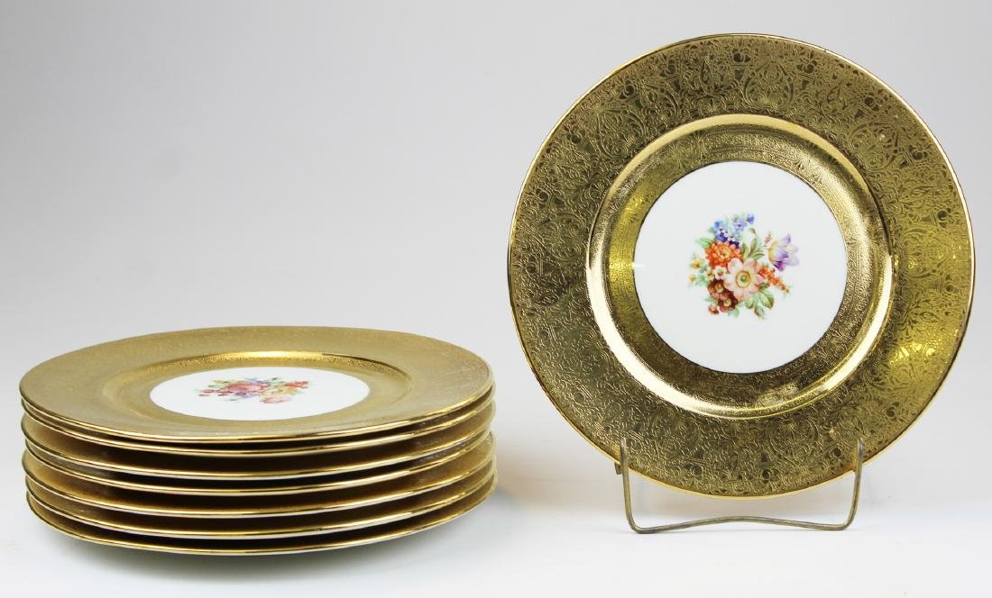 set of 8 Bavarian dinner plates with gold band