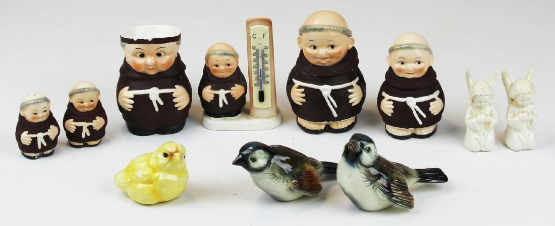 Goebel Friar Tuck, Bird, and angel figurines