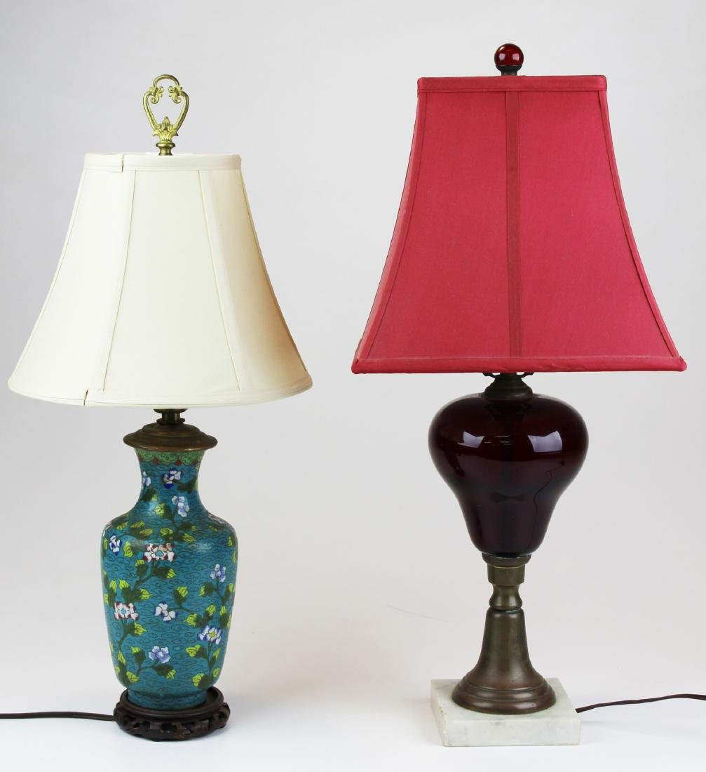 cloisonne lamp, ruby glass lamp w/ marble base