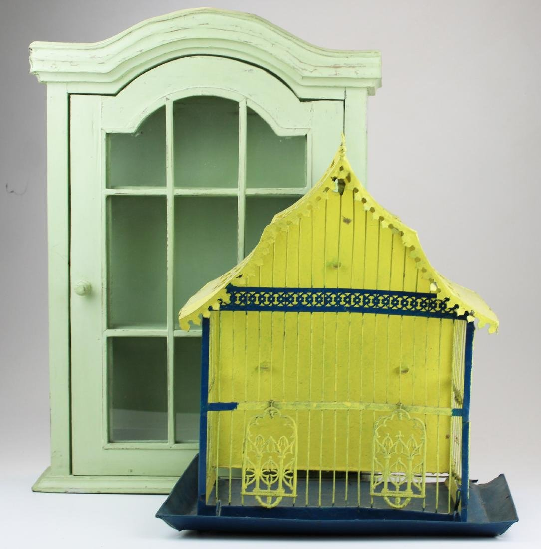 painted steel bird cage & painted curio cabinet