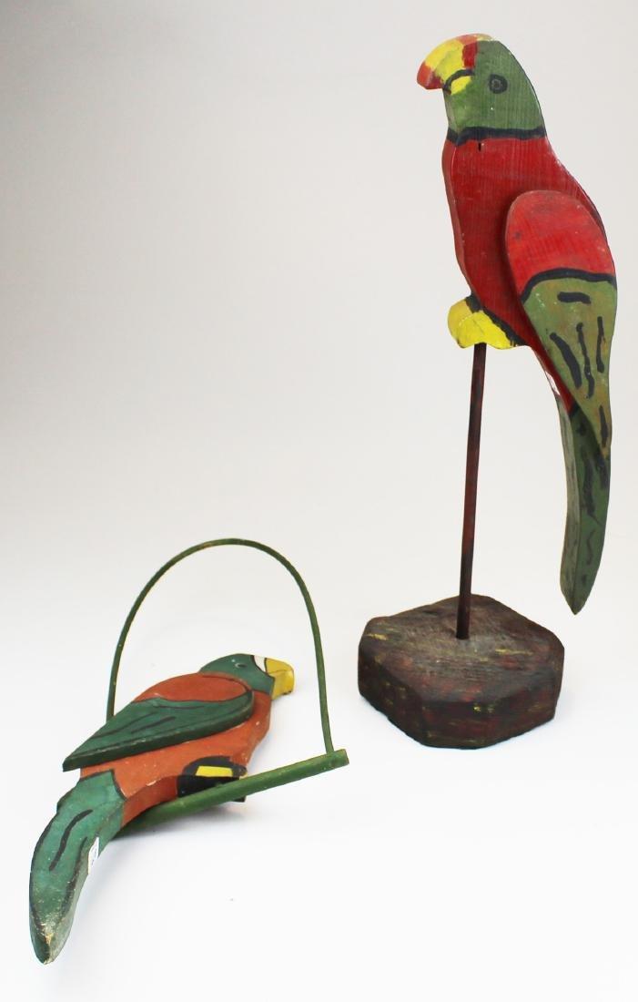 two early 20th c folk art wooden parrots