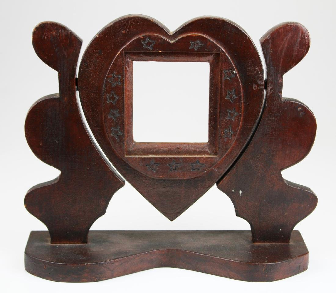early- mid 20th c folk art heart carved tilt frame