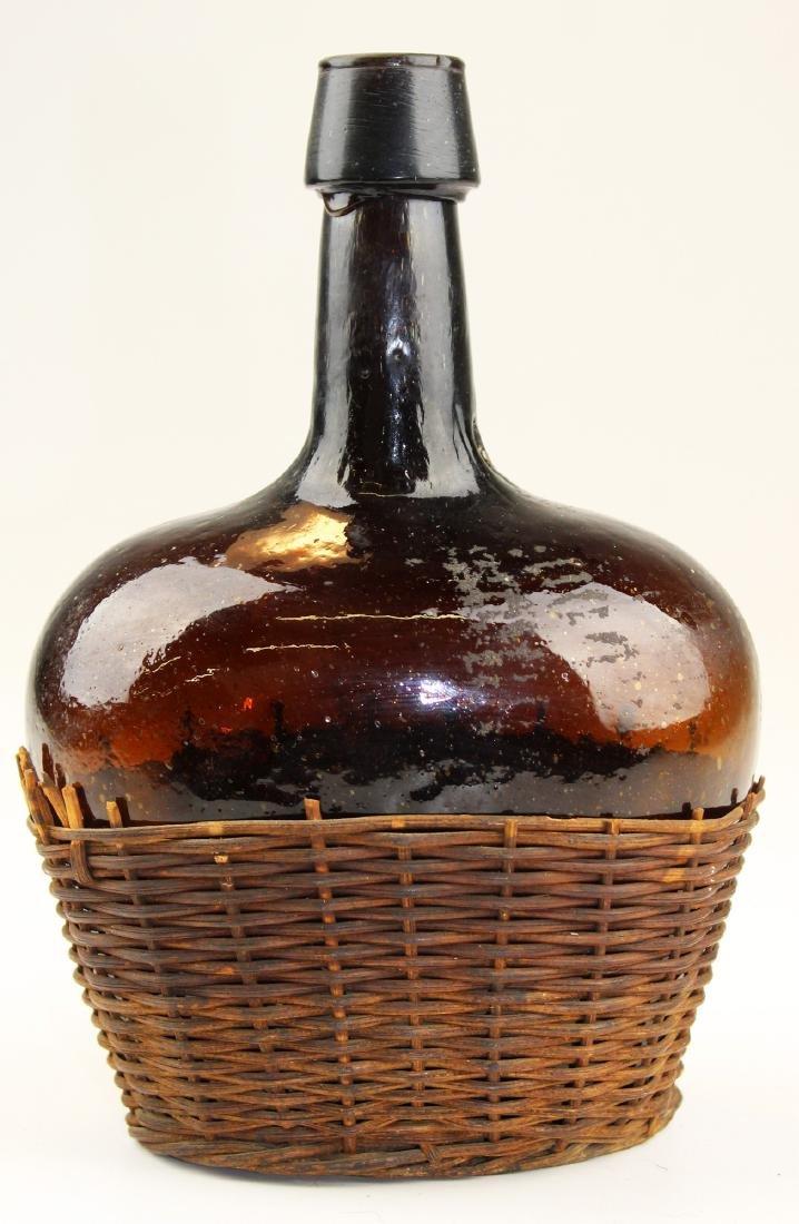 small early 19th c free-blown demijohn bottle