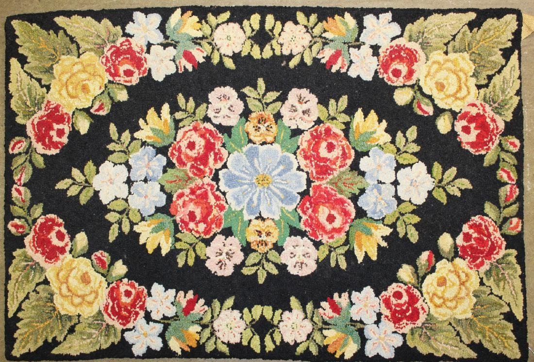 mid 20th c floral pattern hooked rug