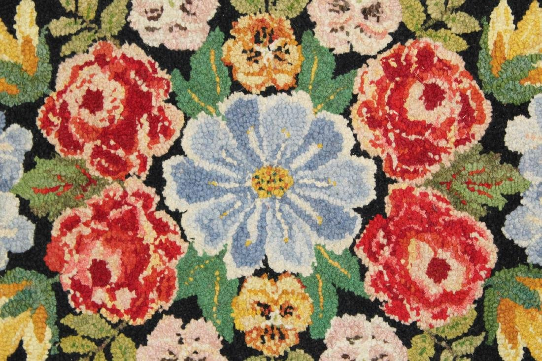 mid 20th c floral pattern hooked rug - 2