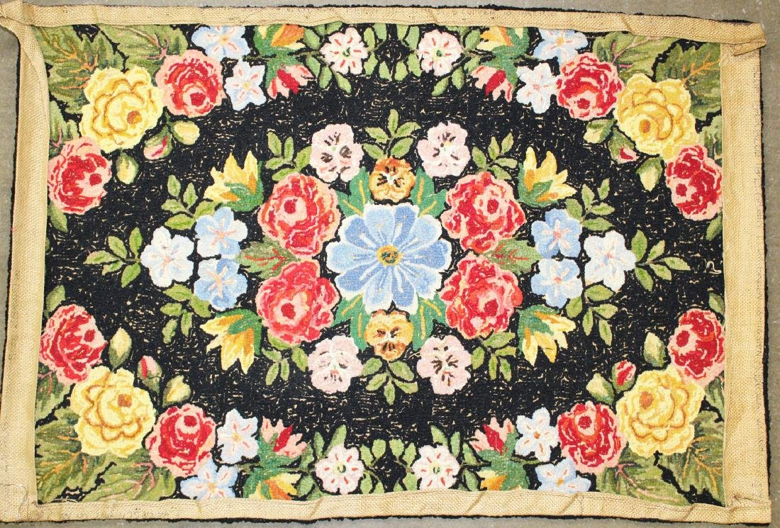 mid 20th c floral pattern hooked rug - 3