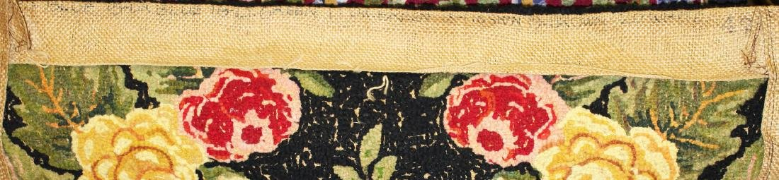 mid 20th c floral pattern hooked rug - 4