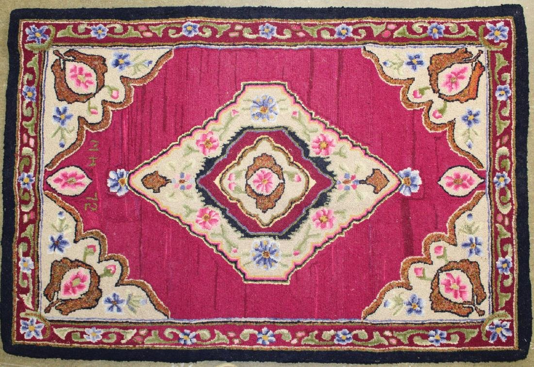 mid 20th c Persian pattern hooked rug