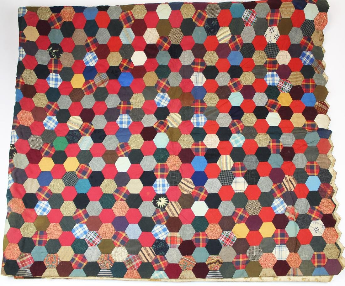 mid 20th c hexagonal patchwork quilt