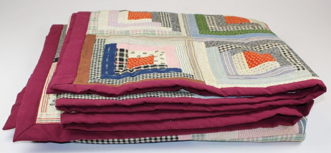 early- mid 20th c log cabin quilt - 4
