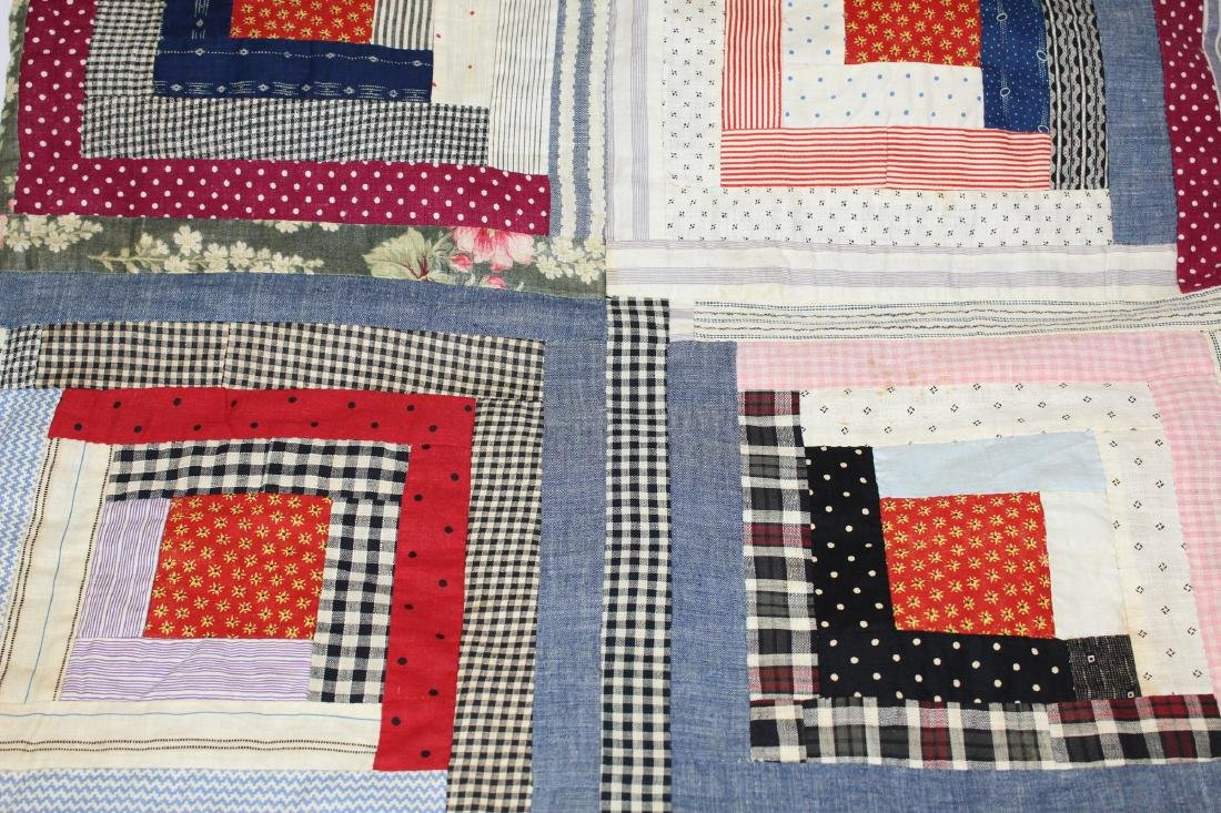 early- mid 20th c log cabin quilt - 6