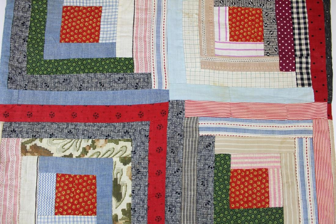 early- mid 20th c log cabin quilt - 7