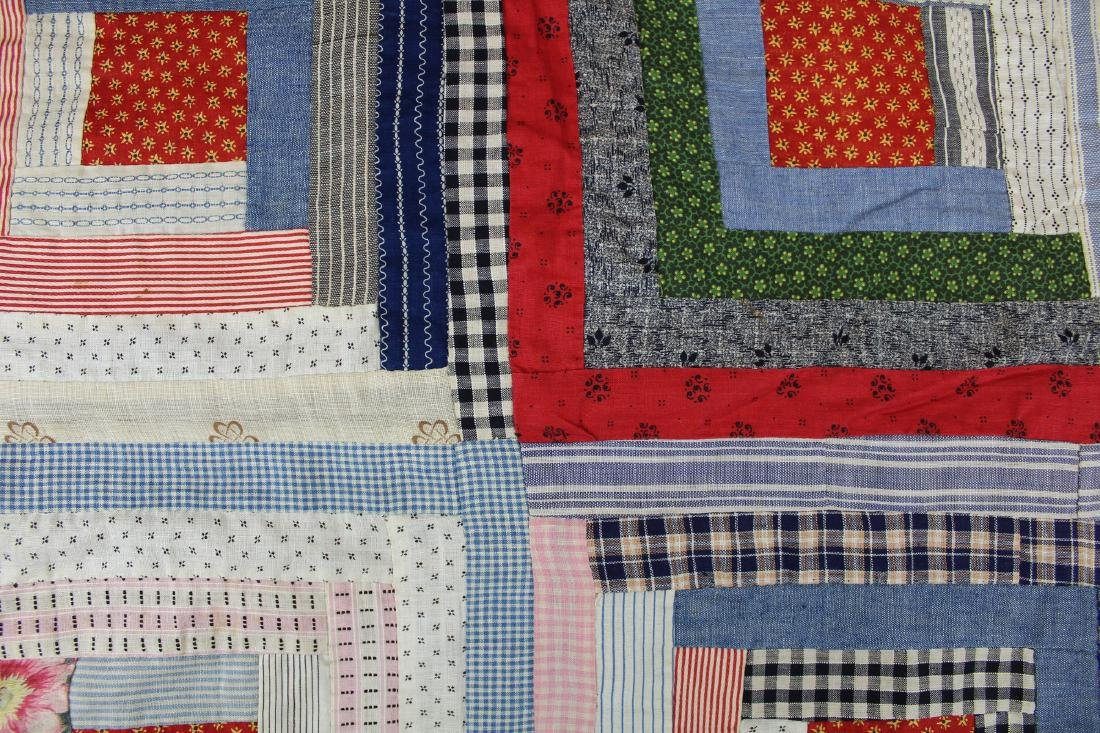 early- mid 20th c log cabin quilt - 8