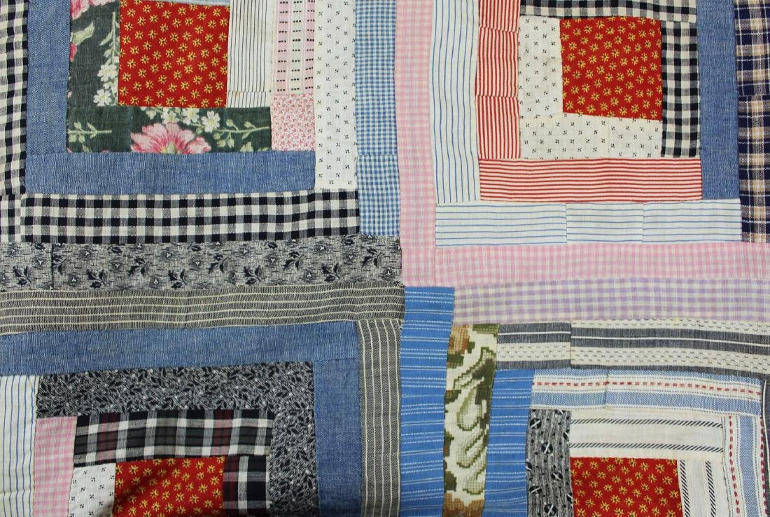 early- mid 20th c log cabin quilt - 9