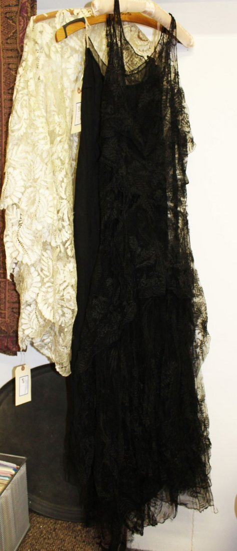 ca 1900 lace shawl, black lace dress & slip