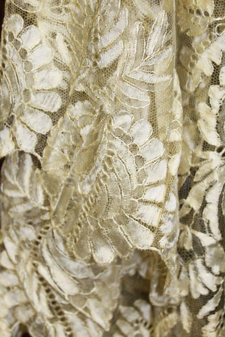 ca 1900 lace shawl, black lace dress & slip - 2