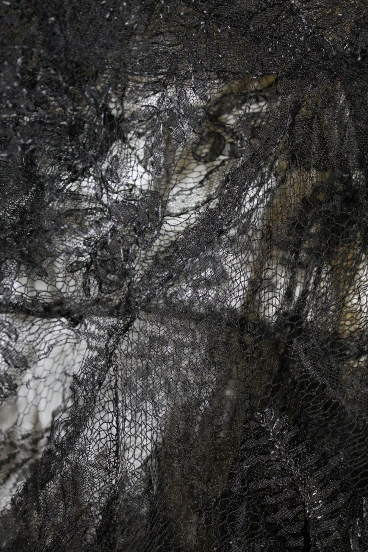ca 1900 lace shawl, black lace dress & slip - 3
