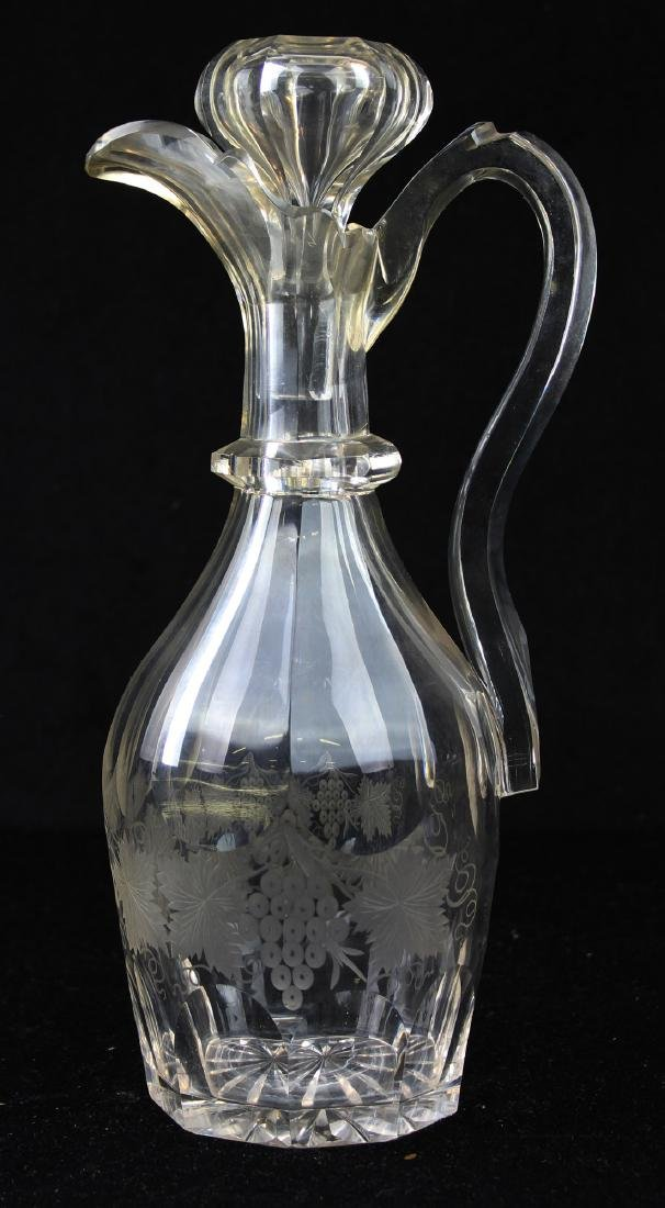19th c. cut glass handled claret decanter ewer