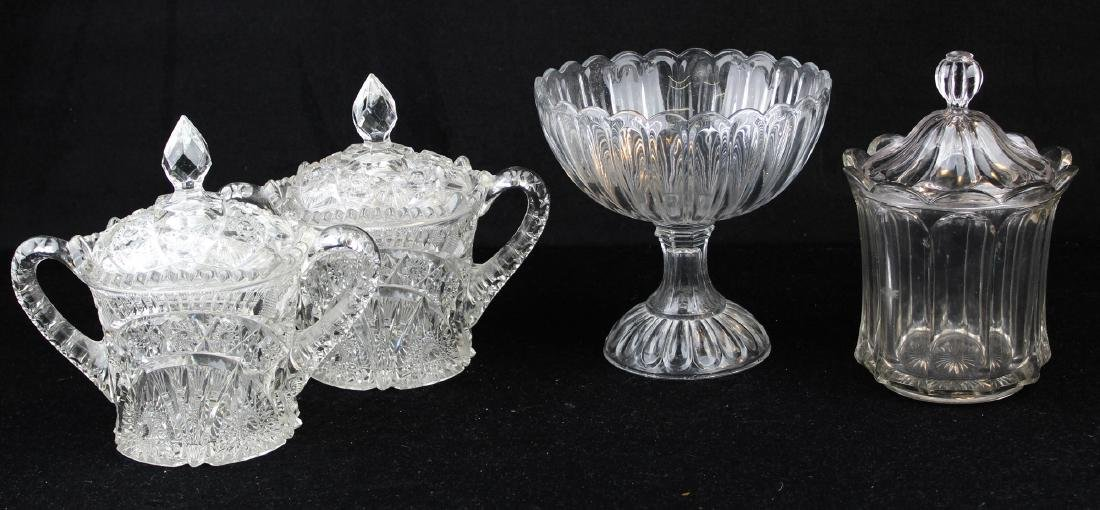 4 pcs pressed pattern glass incl. compote, jars