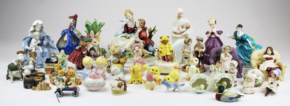 lot of porcelain and resin collectible figurines