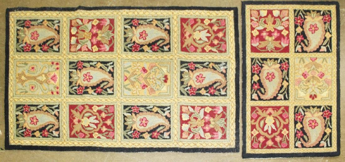two small contemporary hooked rugs